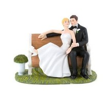 Sitting Pretty on a Park Bench Couple Cake Topper Romantic Reception Gif... - $55.42