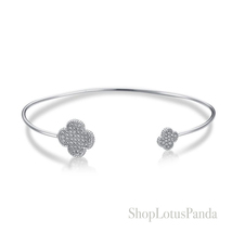 GORGEOUS 18kt White Gold Plated Pave CZ Crystals Clover Thin Cuff Bracelet  - $21.99
