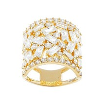 18K YELLOW VERMEIL-Radiant Baguette 5A Cubic Zirconia Knuckle Ring-SS/925 - $89.99