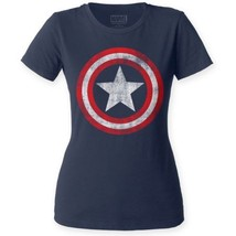 Captain America Vintage Distressed Shield Logo fitted Ladies T-shirt S-2... - £13.85 GBP - £19.40 GBP