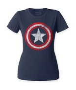 Captain America Vintage Distressed Shield Logo fitted Ladies T-shirt S-2... - £12.99 GBP+