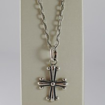 925 BURNISHED SILVER NECKLACE VINTAGE STYLE CROSS PENDANT & CHAIN MADE I... - $94.05