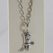 925 BURNISHED SILVER SHERIFF COWBOY BOOT NECKLACE PENDANT CHAIN MADE IN ... - $94.05