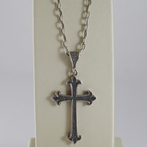 925 BURNISHED SILVER NECKLACE LILY CROSS PENDANT WITH OVAL CHAIN MADE IN ITALY image 1
