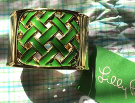 NWT Lilly Pulitzer Gold Green Enamel Behind The Hedge Wide Cuff Bracelet... - $39.99