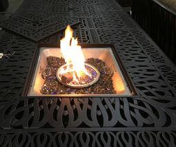 Luxury propane fire pit rectangle outdoor dining set 9 piece cast aluminum patio image 6