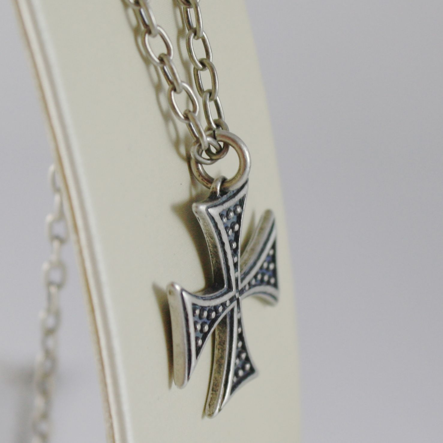 925 BURNISHED SILVER NECKLACE VINTAGE STYLE CROSS PENDANT & CHAIN MADE IN ITALY
