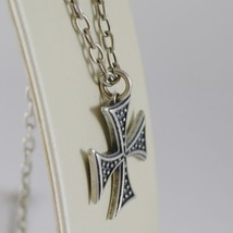 925 BURNISHED SILVER NECKLACE VINTAGE STYLE CROSS PENDANT & CHAIN MADE IN ITALY image 2