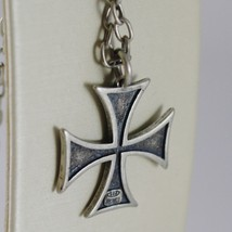 925 BURNISHED SILVER NECKLACE VINTAGE STYLE CROSS PENDANT & CHAIN MADE IN ITALY image 3