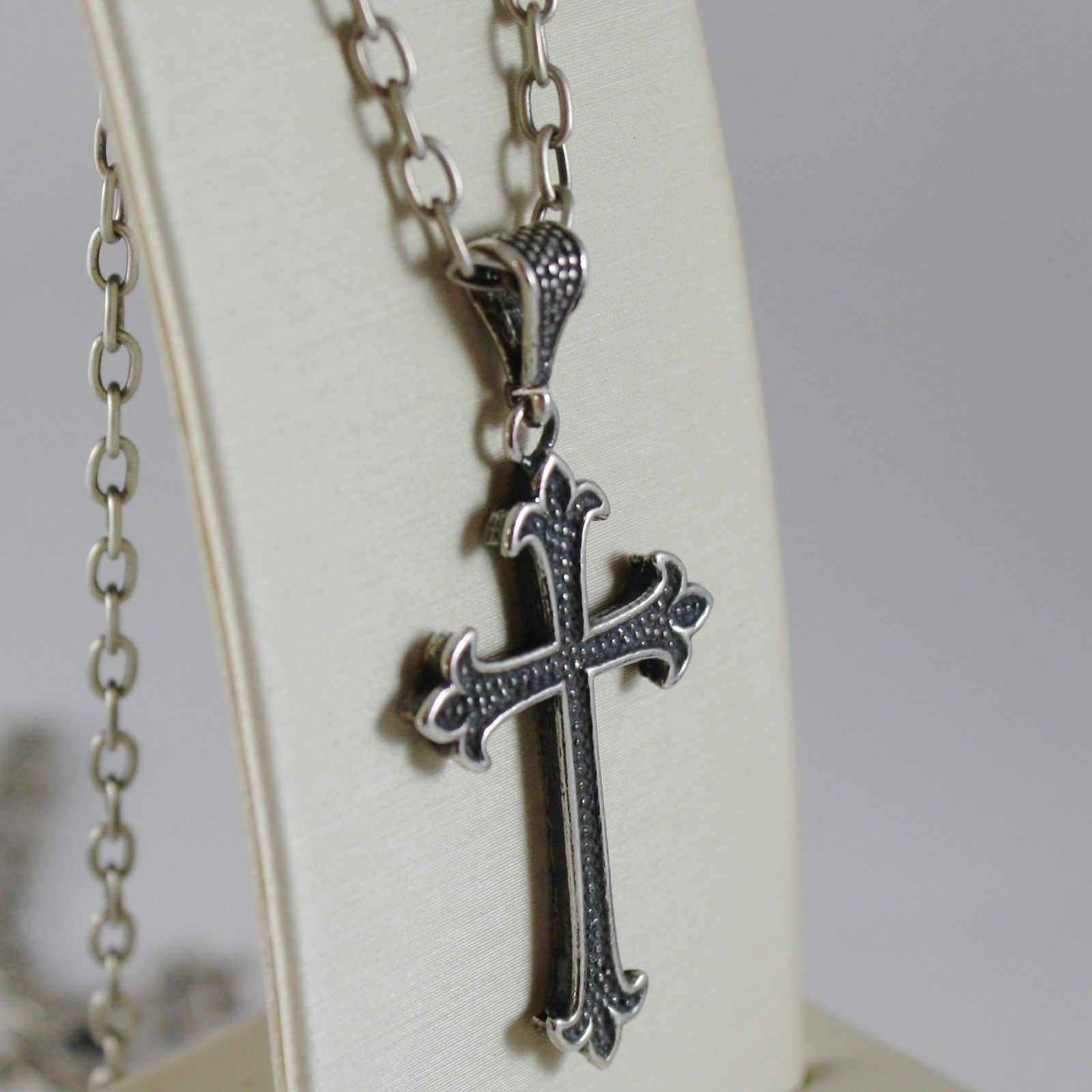925 BURNISHED SILVER NECKLACE LILY CROSS PENDANT WITH OVAL CHAIN MADE IN ITALY