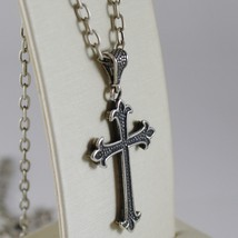 925 BURNISHED SILVER NECKLACE LILY CROSS PENDANT WITH OVAL CHAIN MADE IN ITALY image 2