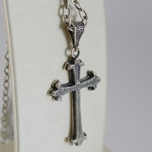 925 BURNISHED SILVER NECKLACE LILY CROSS PENDANT WITH OVAL CHAIN MADE IN ITALY image 3