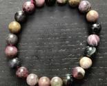 Multi-Color Tourmaline gemstone stretchy bracelet #019 - $44.00