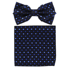 Men's Layer Diamond Shape Pre-tied Bow Tie and Hankie Patterned  Black Blue - $11.49