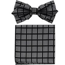 Men's Layer Diamond Shape Pre-tied Bow Tie and Hankie  Black White Plaid - $11.49