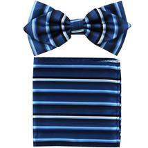 Men's Layer Diamond Shape Pre-tied Bow Tie and Hankie  Blue Blue Striped - $11.49