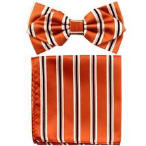 Men's Layer Diamond Shape Pre-tied Bow Tie and Hankie  Orange Black Cream - $11.49