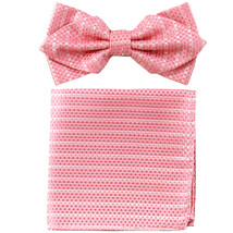 Men's Layer Diamond Shape Pre-tied Bow Tie and Hankie Patterned  Pink White - $11.49
