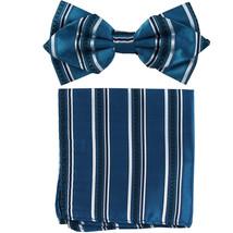 Men's Layer Diamond Shape Pre-tied Bow Tie and Hankie  Blue Black Striped - $11.49