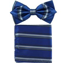 Men's Layer Diamond Shape Pre-tied Bow Tie and Hankie Royal Blue Black S... - $11.49