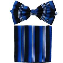 Men's Layer Diamond Shape Pre-tied Bow Tie and Hankie  Black Blue Striped - $11.49