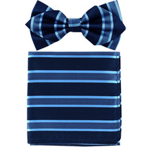Men's Layer Diamond Shape Pre-tied Bow Tie and Hankie Patterned  Blue Black - $11.49