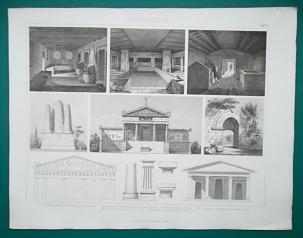 Primary image for ETRUSCAN ARCHITECTURE Cerveteri Falerii Tombs etc - 1870s Superb Print