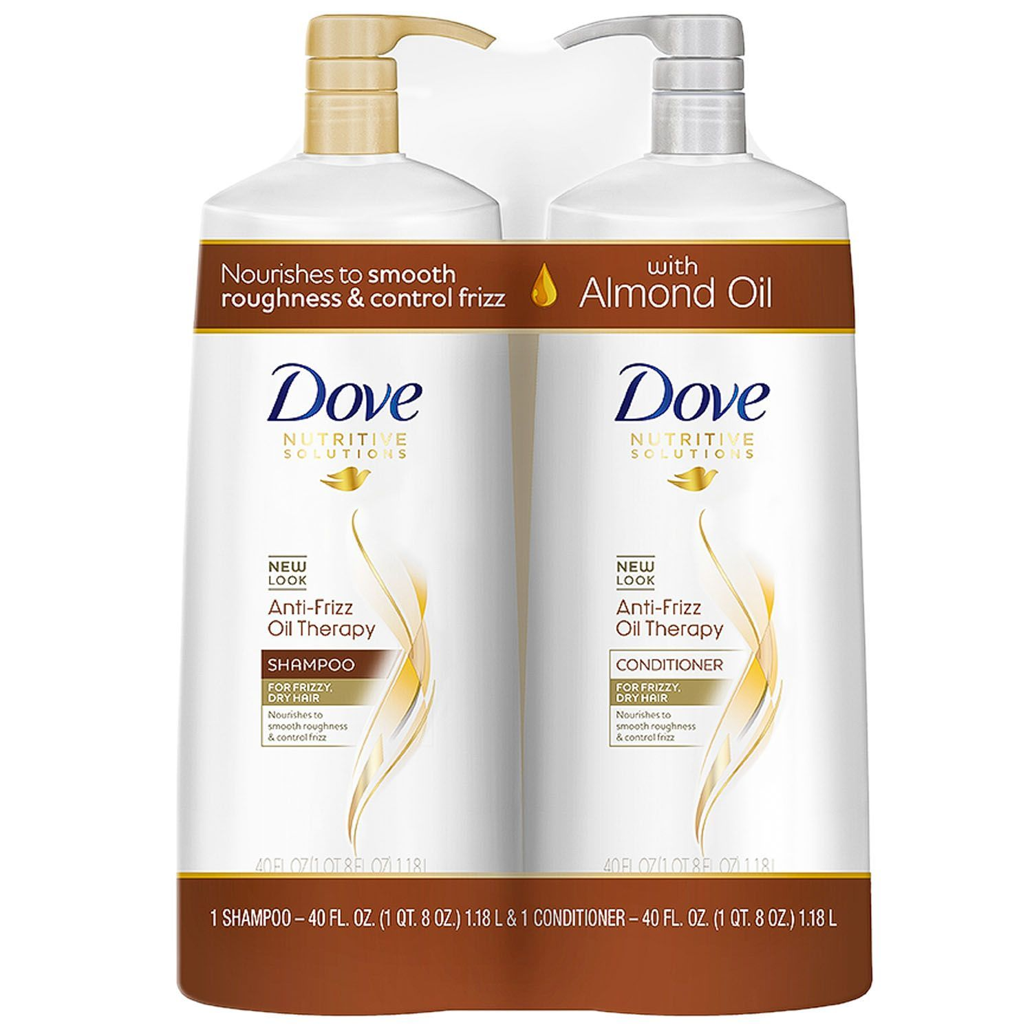 Dove Anti-Frizz Oil Therapy Shampoo & Conditioner 40 fl. oz./ 1.18 l, 2 pk