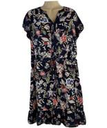 Massini Woman's Size L Dress Floral Dark Blue V-Neck Ruffle Hem Tie Stri... - $16.78