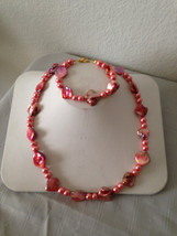 "Coral, ""Mother-of-Pearl"" Necklace and Bracelet Set - $25.00"