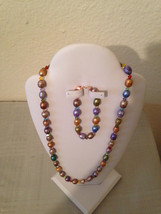 Candy-Colored Pearl and Crystal, Necklace and Bracelet Set - $25.00