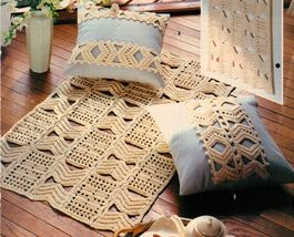 Quadrille Wall Hanging Rug Pillows Optical Illusion Table Topper Crochet Pattern image 3