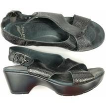 $130 Dansko Jacinda Sandals Size 37,7 Womens Leather Black Snake Skin - $52.25