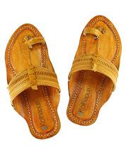 eKolhapuri Triangular belt, light yellow color kolhapuri chappal for men  - $53.00