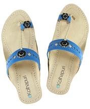 eKolhapuri Designer's blue upper sandal for ladies - $51.00