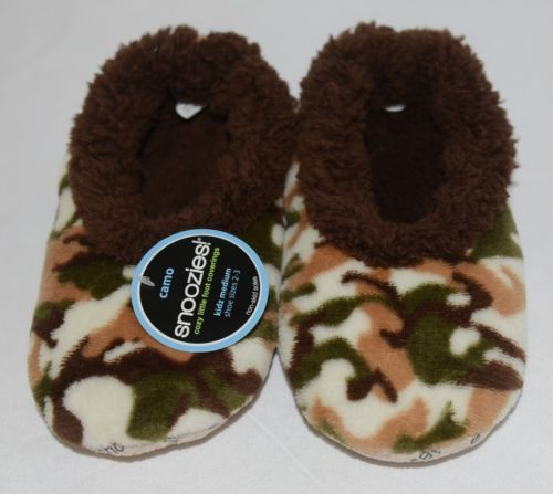 Snoozies KCM002 Foot Coverings Natural Brown Camo Size Kids 2 And 3