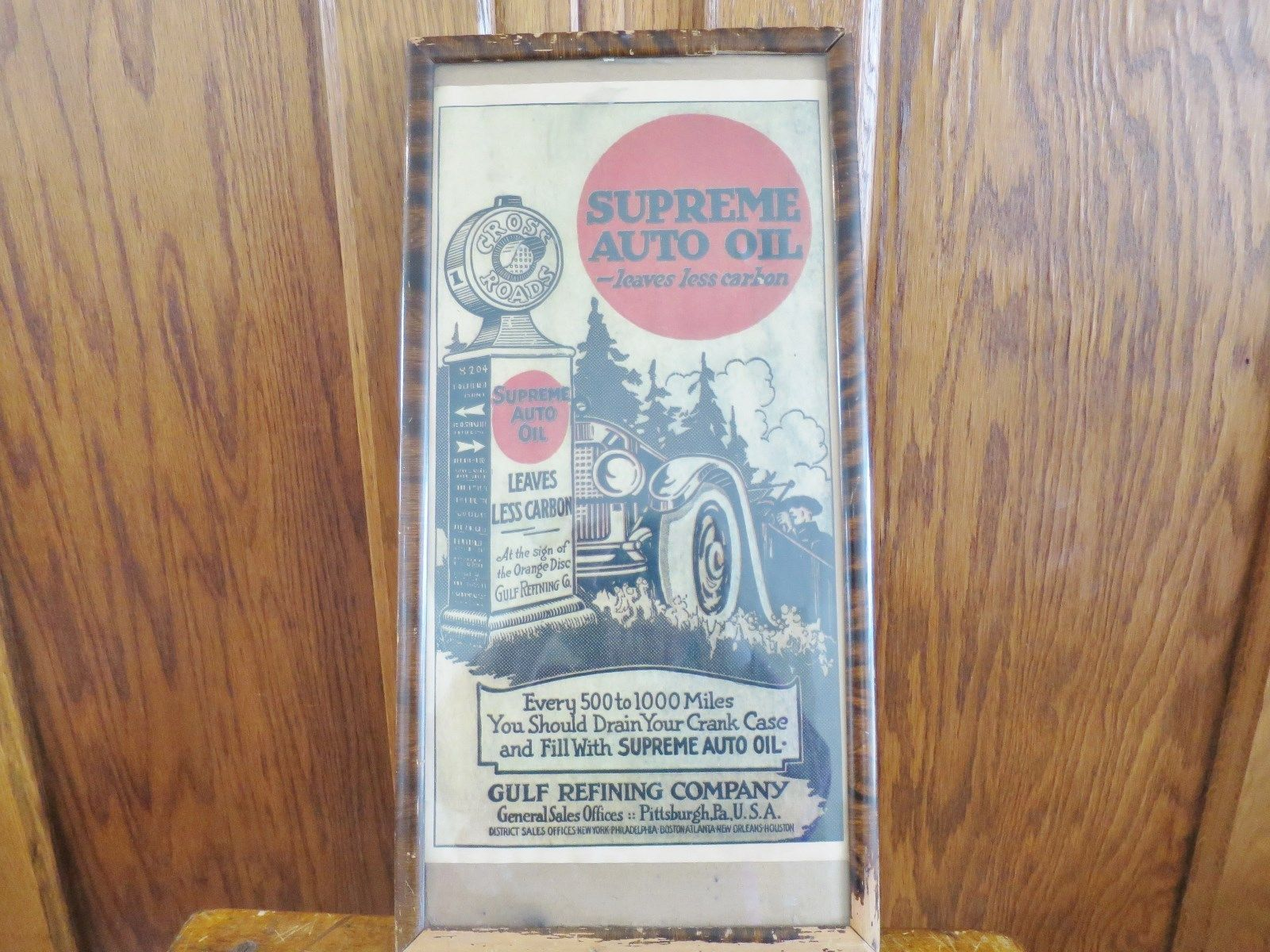 Primary image for Gulf Oil Supreme Auto Oil Advertisement Framed Vintage