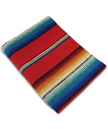 Southwest Afghan Throw Sarape Blanket Red Mexic... - $26.72