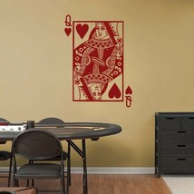QUEEN of HEARTS Playing Card Poker Blackjack Vinyl Wall Sticker Decal - $29.99