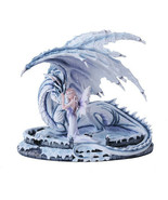 Large White Adoring Fairy With Blue Dragon Figurine Handpainted Resin - $128.69