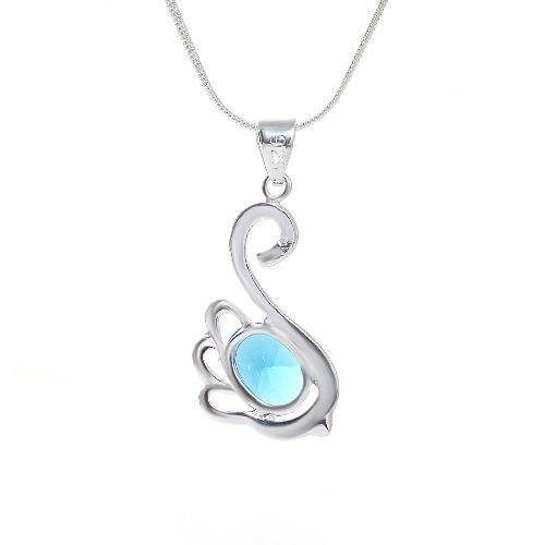 AQUAMARINE AND STERLING SILVER SWAN PENDANT