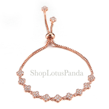 EXQUISITE 18kt Rose Gold Plated CZ Crystals Clover Clovers Links Chain B... - €15,32 EUR