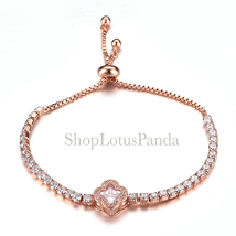 EXQUISITE 18kt Rose Gold Plated CZ Crystals Clover Crystal Links Chain Bracelet - $17.99