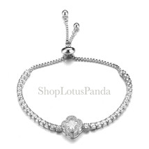 EXQUISITE 18kt White Gold Plated CZ Crystals Clover Crystal Links Chain ... - $344,02 MXN