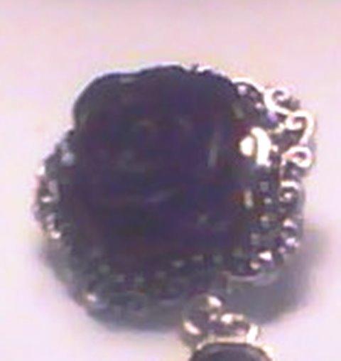 BLACK DROP EARRINGS - ACRYLIC FLOWER AND TEARDROP BODY - SALE PRICE