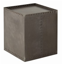 "22"" Side Accent Table Gray Distressed Natural Iron modern Industrial Rivets - €676,52 EUR"