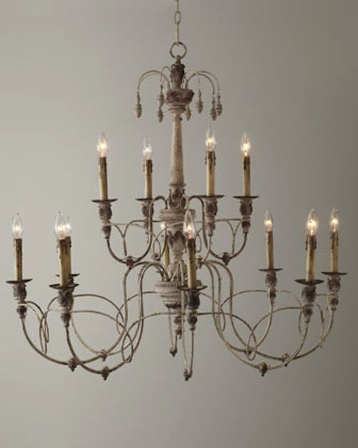"Primary image for 39"" Horchow 12 Light Aidan Gray Look 2 Tier French Beaded Steel Chandelier $1000"