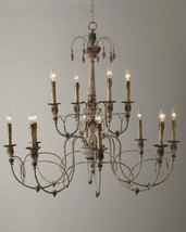 "39"" Horchow 12 Light Aidan Gray Look 2 Tier French Beaded Steel Chandeli... - $846.85"