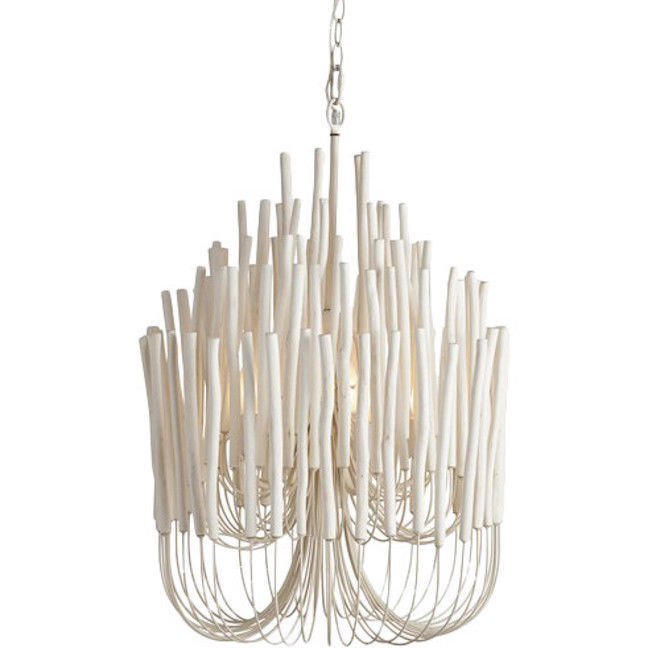 "Primary image for 30"" H  5 light Pearl White Washed Wood Twigs & Iron Tiered Designer Chandelier"