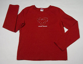 Girls L 10 12 Top Christmas Holiday Red Rhinestones Candy Cane Sweet Heart Shirt - $8.41